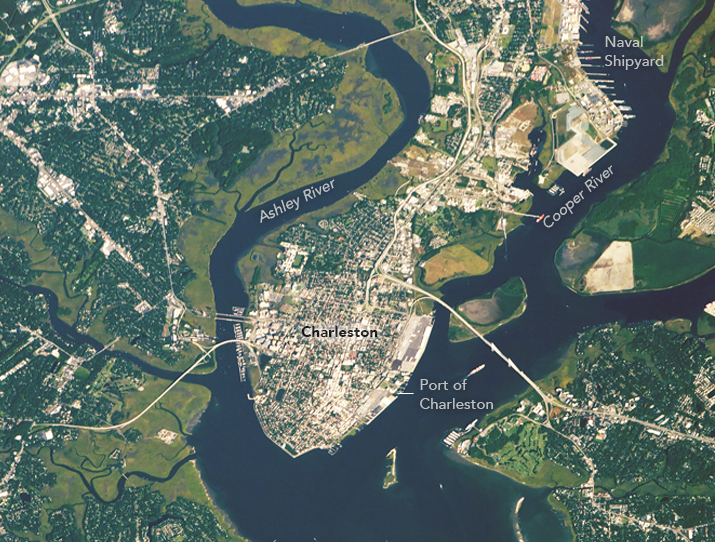 Today's Image of the Day comes from the NASA Earth Observatory and features a look at the city of Charleston, South Carolina as seen from the International Space Station.
