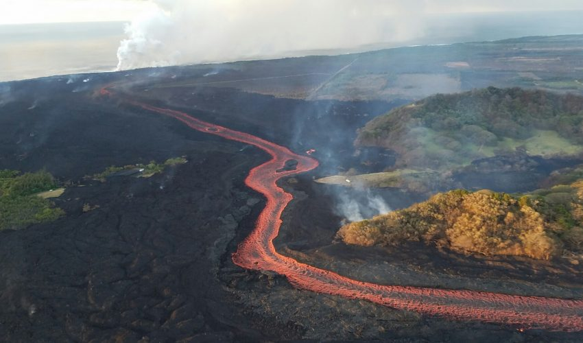 Today's Image of the Day from the U.S. Geological Survey(USGS) shows the river of lava released by fissure 8 as it continues to flow through a well-established channel of scorched Earth.