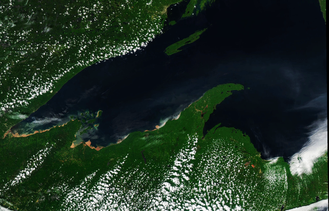 Today's Image of the Day from NASA Earth Observatory shows Lake Superior in the aftermath of intense storms that ripped through Michigan on June 17th.