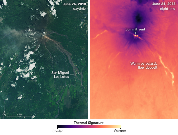 Today's Image of the Day from NASA Earth Observatory features Guatemala's Fuego volcano three weeks after the devastating eruption on June 3rd that killed over a hundred people and injured thousands more.