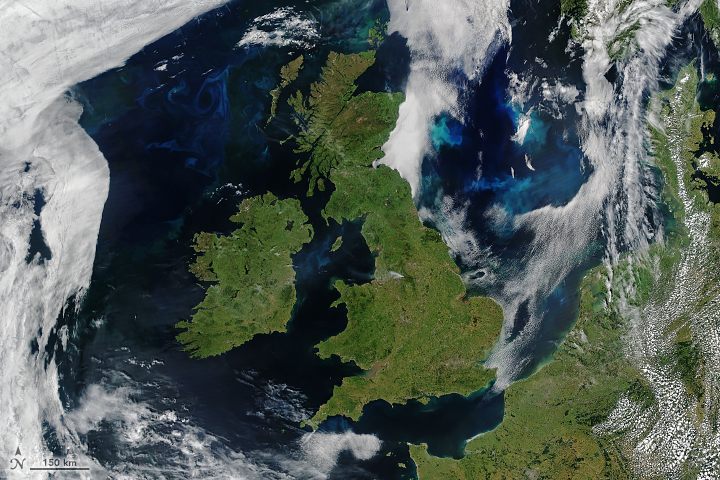 Today's Image of the Day from NASA Earth Observatory features the rare sight of clear skies over England, Ireland, Scotland, and Wales on June 27.