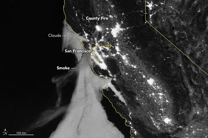 Today's Image of the Day from NASA Earth Observatory shows the massive County Fire as it lights up the night sky on July 1.