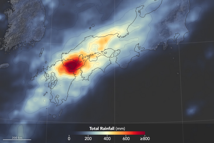 Today's Image of the Day from NASA Earth Observatory shows the massive amounts of rainfall that have caused the worst flooding to strike Japan in 35 years.