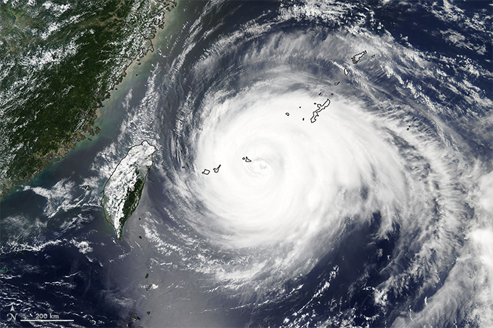 Today's Image of the Day from NASA Earth Observatory shows Typhoon Maria as it blazes a massive trail across the ocean toward eastern China