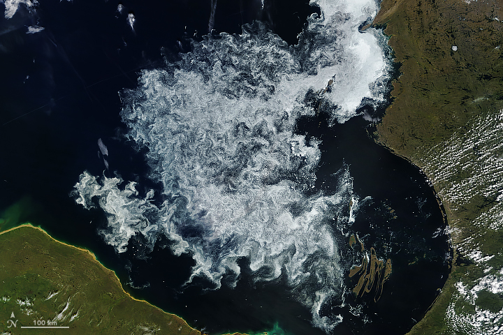 Today's Image of the Day from NASA Earth Observatory shows ice breaking up across the Hudson Bay on July 22.