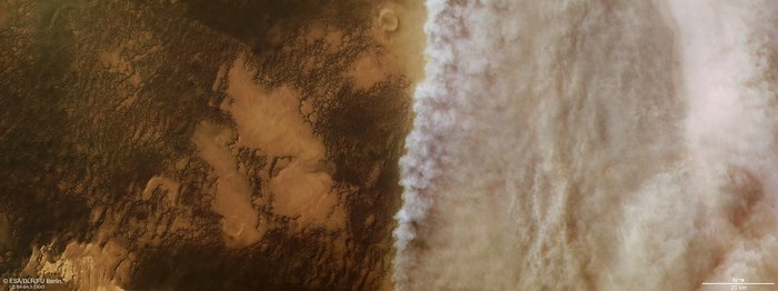 Today's Image of the Day from the European Space Agency (ESA) features a dust storm moving across Mars in April of this year.