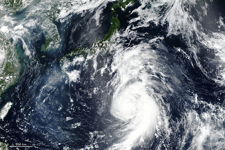 Today's Image of the Day from NASA Earth Observatory shows Typhoon Jongdari as it approached the coast of Japan on July 27th with top wind speeds of 120 miles per hour.