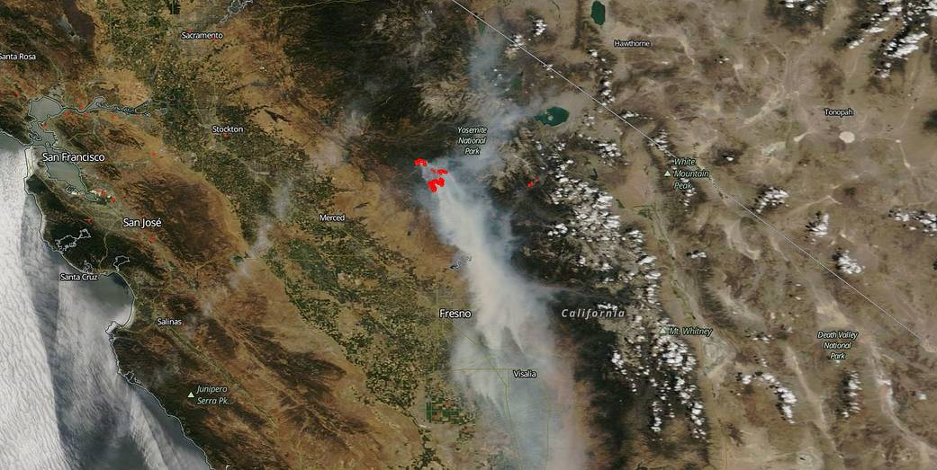 Today's Image of the Day from NASA Goddard features the explosive Ferguson Fire, which has scorched nearly 50,000 acres in the Merced River Canyon just outside of Yosemite National Park.