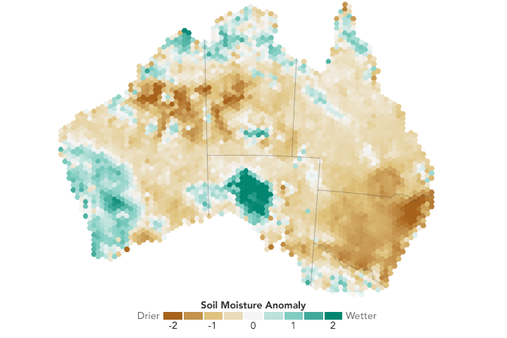 Today's Image of the Day from NASA Earth Observatory shows the dry and damaging effects of a persistent drought in Australia