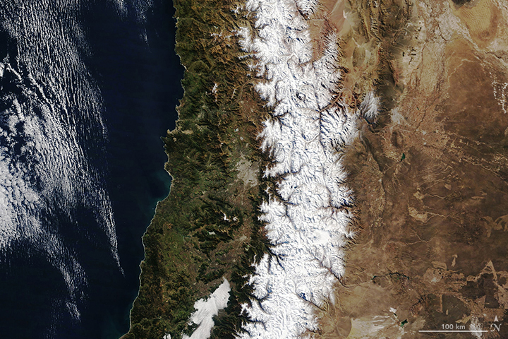 Today's Image of the Day from NASA Earth Observatory shows fresh snowfall in the central Andes mountains, which spread out across seven South American countries. The mountain range is one of the longest in the world, spanning about 4,500 miles and consisting of different climate regions that range from wet to dry. This image was captured on July 30th by the Moderate Resolution Imaging Spectroradiometer (MODIS) on NASA's Terra satellite. -- By Chrissy Sexton, Earth.com Staff Writer Image Credit: NASA Earth Observatory