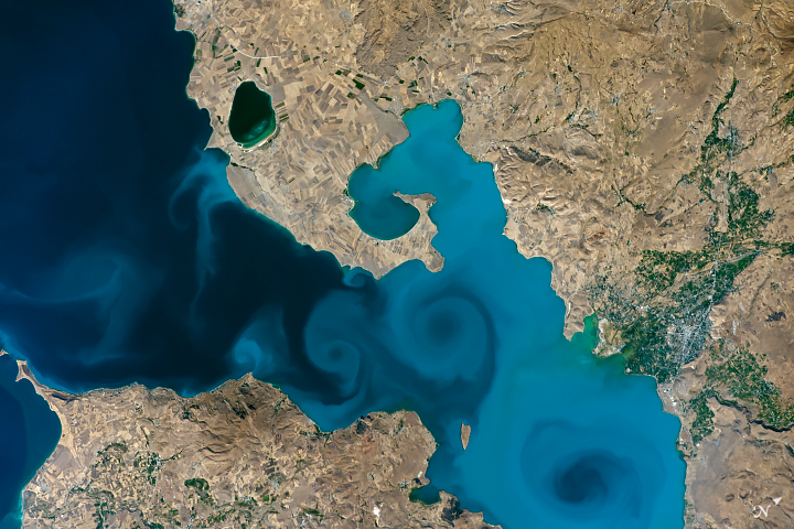 Today's Image of the Day from NASA Earth Observatory features Lake Van, the largest lake in Turkey.