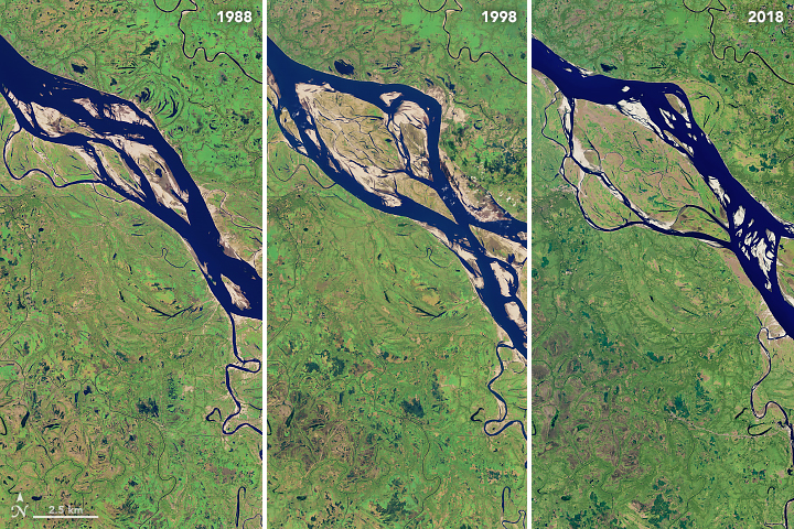 Today's Image of the Day from NASA Earth Observatory shows how dramatically the Padma River has shifted in size and location over the last twenty years.