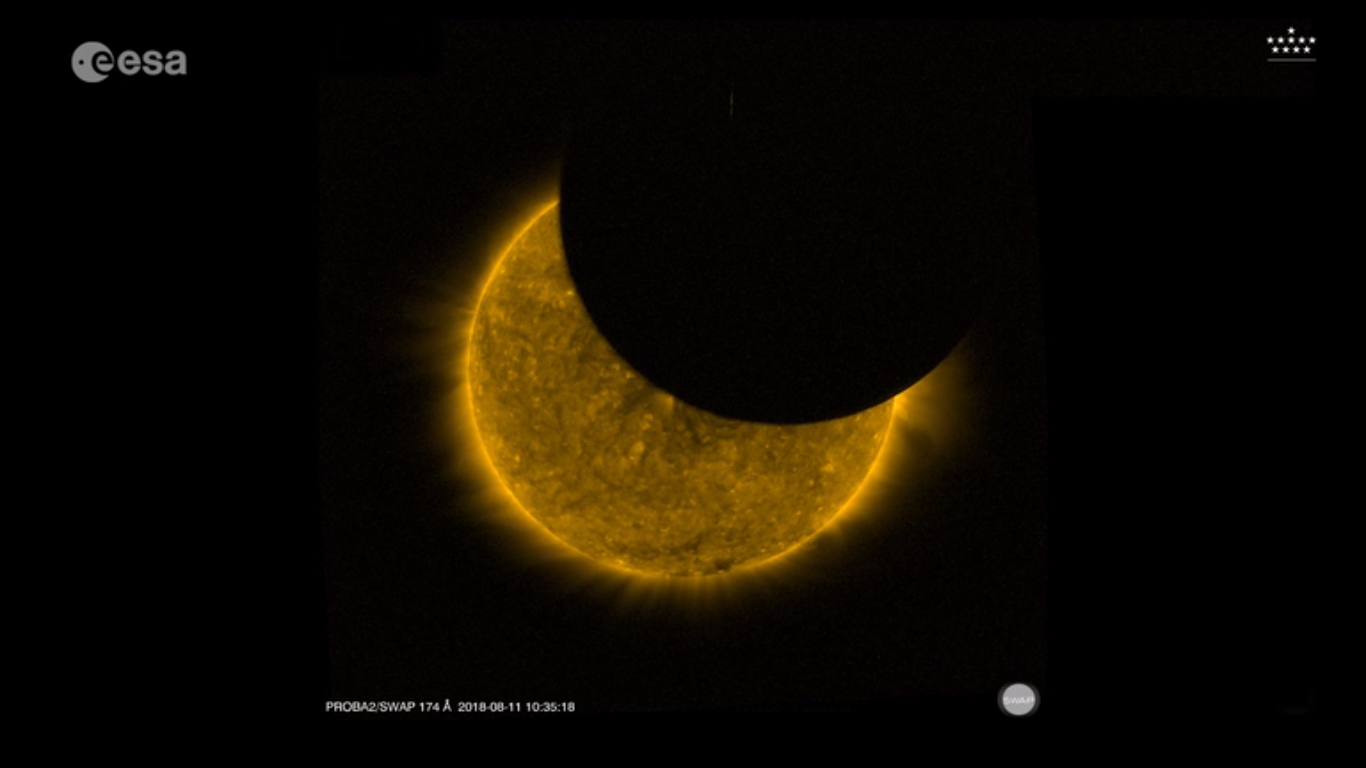 Today's Video of the Day from the European Space Agency (ESA) features two partial solar eclipses captured on Saturday, August 11th.