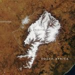 Today's Image of the Day from NASA Earth Observatory shows snow covering most of the South African country of Lesotho.