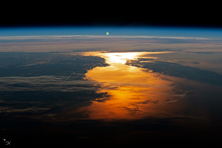Today's Image of the Day from NASA Earth Observatory shows an incredible sunrise from the International Space Station (ISS) when it was positioned high above Massachusetts.