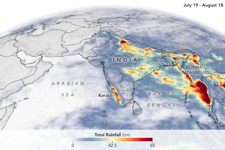 Today's Image of the Day from NASA Earth Observatory shows the rain that accumulated during last week's devastating monsoon event that struck India.