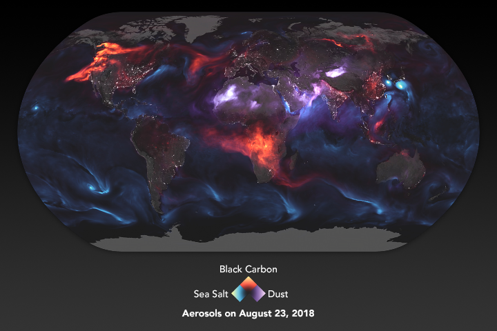 Today's Image of the Day from NASA Earth Observatory shows the invisible particles and liquid droplets, known as aerosols, that surround us in the air that we breathe.