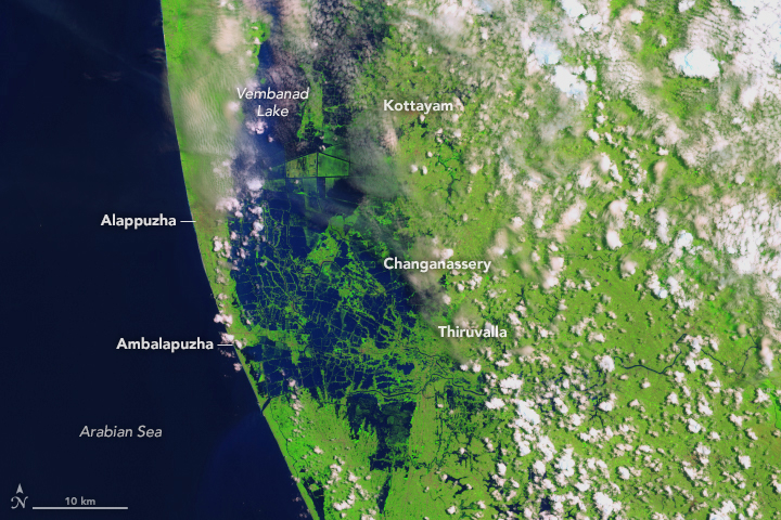 Today's Image of the Day from NASA Earth Observatory shows the remarkable difference across regions of India before and after a recent catastrophic flooding event.