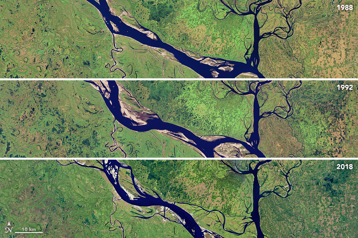 Today's Image of the Day from NASA Earth Observatory shows how the Padma River in Bangladesh has transformed over the last thirty years.