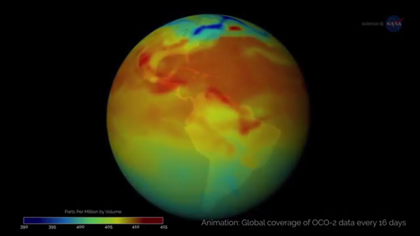 Today's Video of the Day from NASA Science News describes our planet's fluctuating levels of carbon dioxide (CO2) as documented by the Orbiting Carbon Observatory-2 (OCO-2), which was launched in 2014.