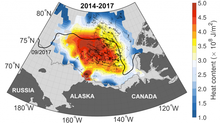Archived heat trapped below the Arctic could melt all of the Arctic sea ice if it were to make its way to the surface.