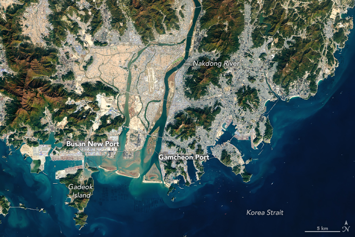 Today's Image of the Day from NASA Earth Observatory features the Port of Busan, which is located at the southeastern tip of the Korean Peninsula.