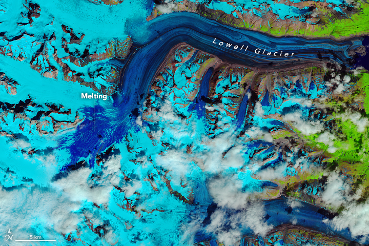 Today's Image of the Day from NASA Earth Observatory shows the outcome of rapid snow melt in the Kluane National Park Reserve in Canada's Yukon Territory.