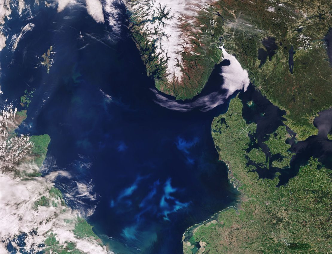 Today's Image of the Day from the European Space Agency shows the North Sea along with an algae bloom that covers most of its southern region.