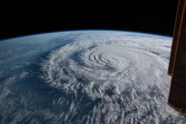 Hurricane Florence is pictured from the International Space Station as a category 1 storm as it was making landfall near Wrightsville Beach, North Carolina. Now Tropical Storm Florence, the storm could linger.