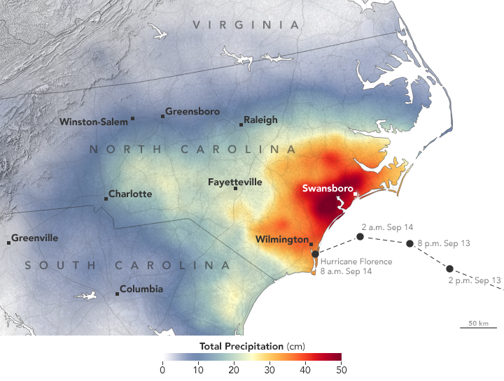 Today's Image of the Day from NASA Earth Observatory shows the rainfall accumulation from Hurricane Florence across the state of North Carolina from September 13th through the 16th.