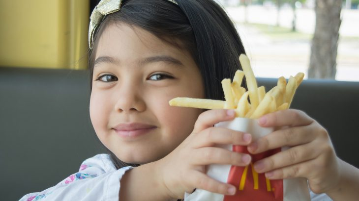74 percent of kids still get unhealthy drinks and/or side items with their kids' meals at the four largest fast-food restaurant chains.