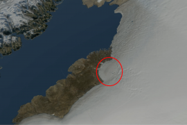 A team of international researchers unearthed a massive impact crater measuring 19 miles wide beneath northern Greenland's ice sheet.