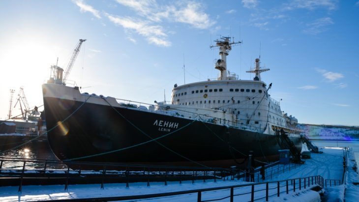 The first Soviet nuclear-powered icebreaker, Lenin, now a museum, is docked in Murmansk on March 3, 2018. The U.S. and China are setting their sights on the warming Arctic, where Russia has operated for some time.