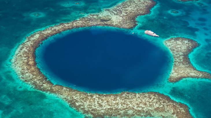 Belize's Great Blue Hole is a famous landmark that was once part of dry land before being submerged by rising sea levels.