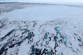 The filing and draining of meltwater lakes on top of ice shelves in Antarctica causes the ice shelf to flex, which threatens its stability.