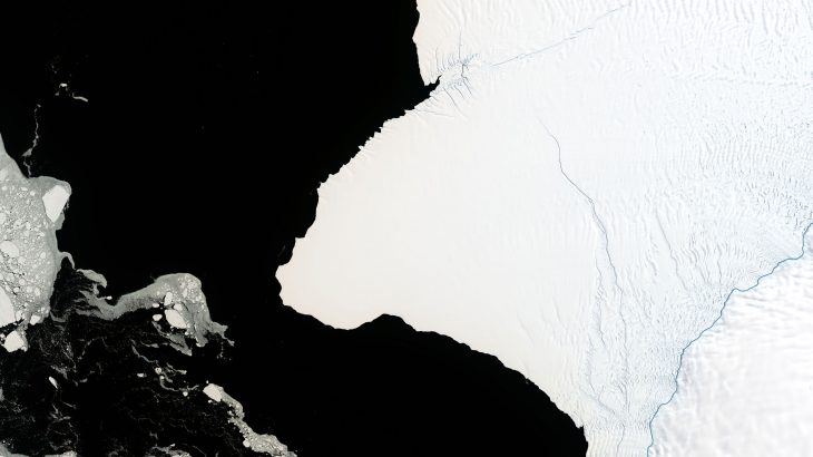 An iceberg twice the size of New York City is about to break off the Brunt Ice Shelf and NASA has started a countdown to the calving event.