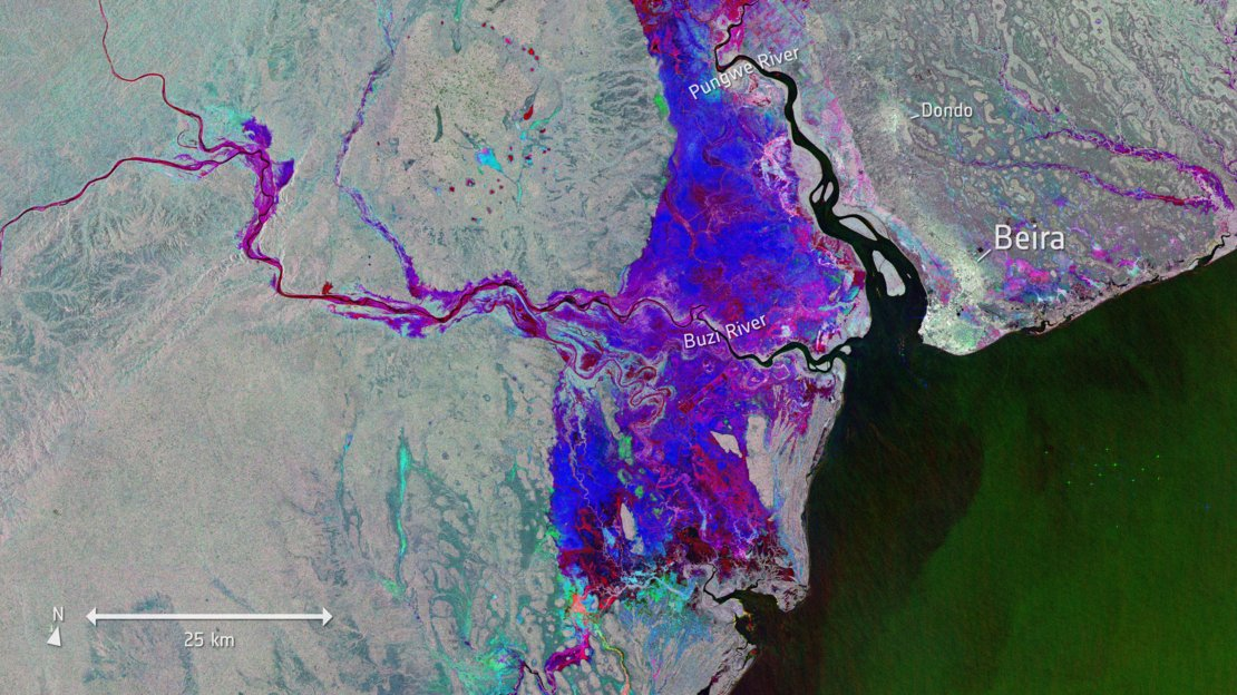 Today's Image of the Day from the European Space Agency represents flooding in the port city of Beira in Mozambique, where flood water is finally starting to recede.