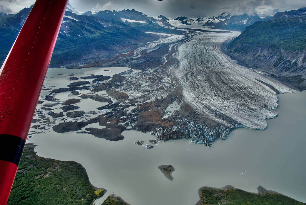 Today's Image of the Day from NASA features the Sheridan Glacier near Cordova, Alaska, which has a floating ice tongue that is rapidly deteriorating.
