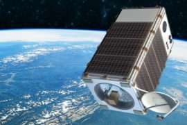 An artist's concept of the Environmental Defense Fund's MethaneSAT, one of the cutting-edge satellites being developed to monitor methane emissions linked to climate change.