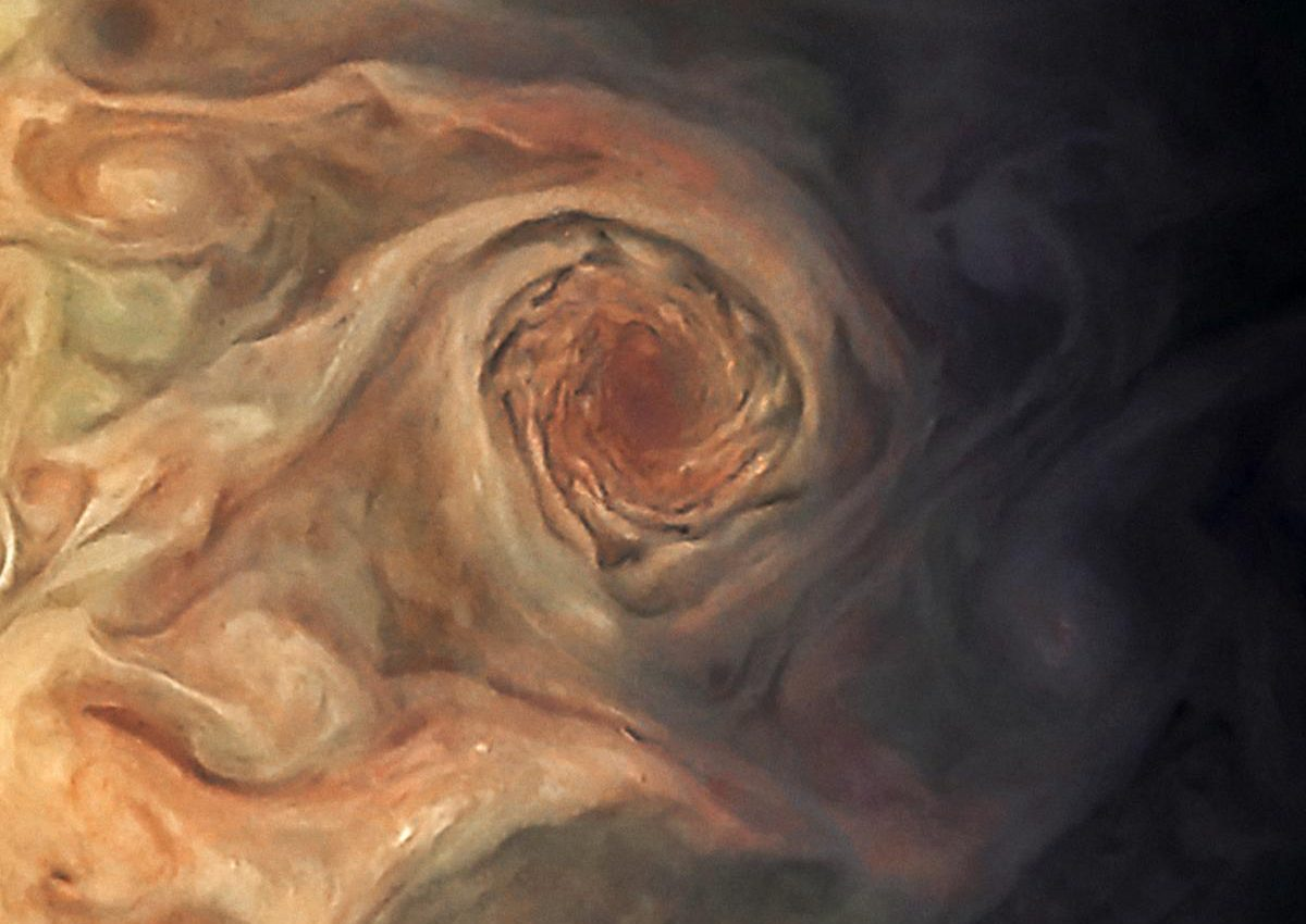 Today's Image of the Day from NASA features a swirling storm on Jupiter captured by the JunoCam imager on the Juno spacecraft.