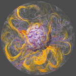 Today's Image of the Day from the European Space Agency is a simulation of the magnetic field in Earth's core.
