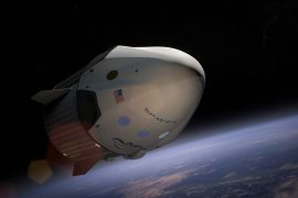 Rendering of SpaceX Dragon Capsule in orbit above the earth.
