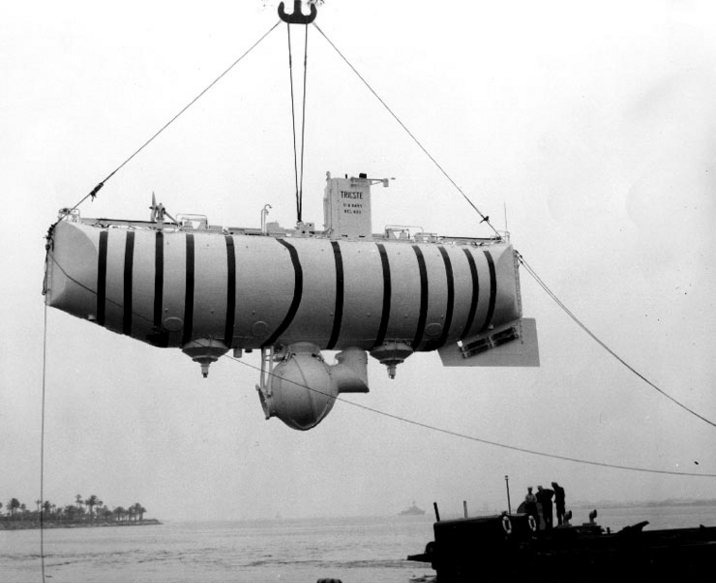 Image of the Bathyscaphe Trieste, the first submersible to reach the Challenger Deep