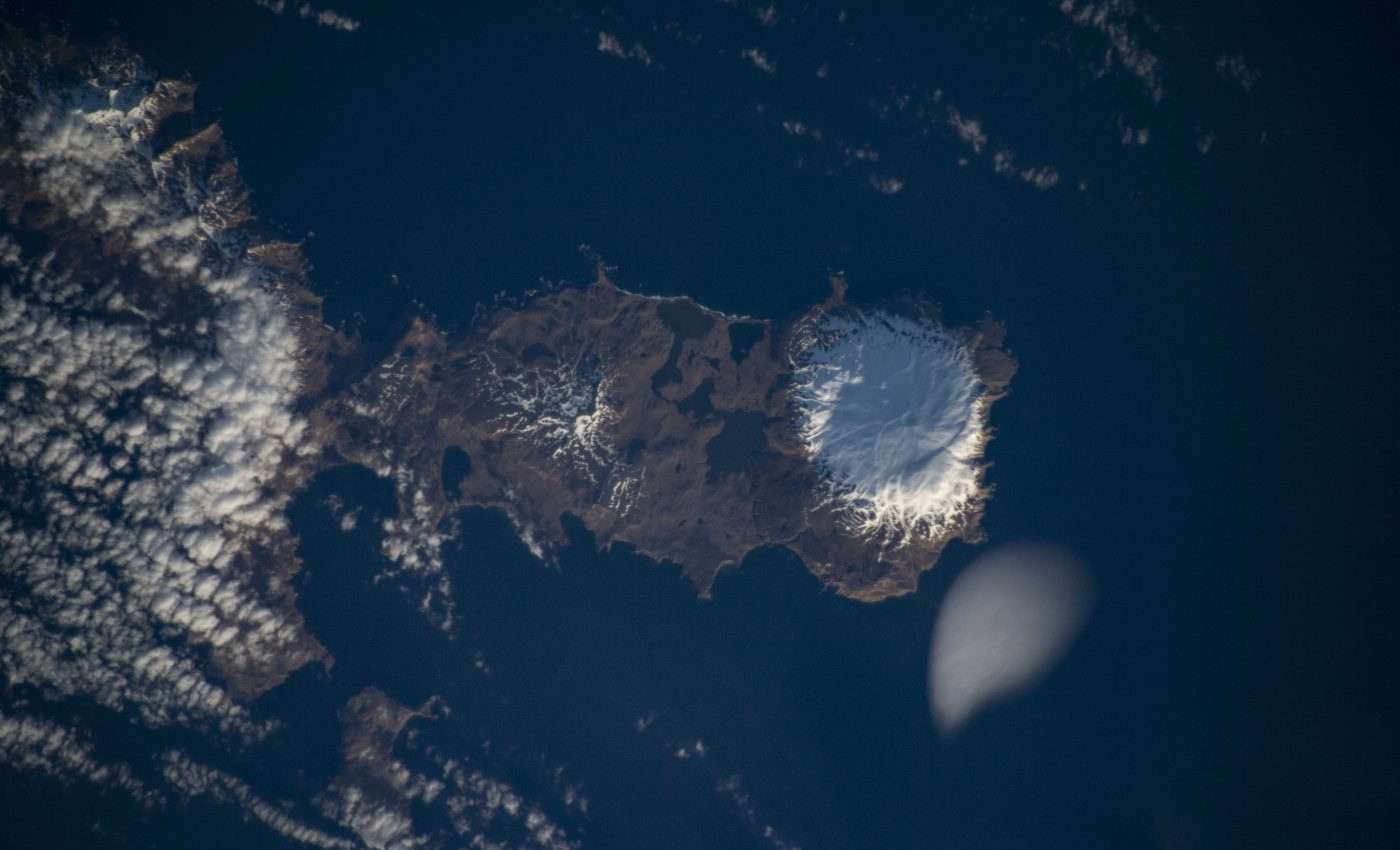 Today's Image of the Day from NASA features the snow-capped Kiska Volcano on Kiska Island, which is part of the Alaska Maritime National Wildlife Refuge.