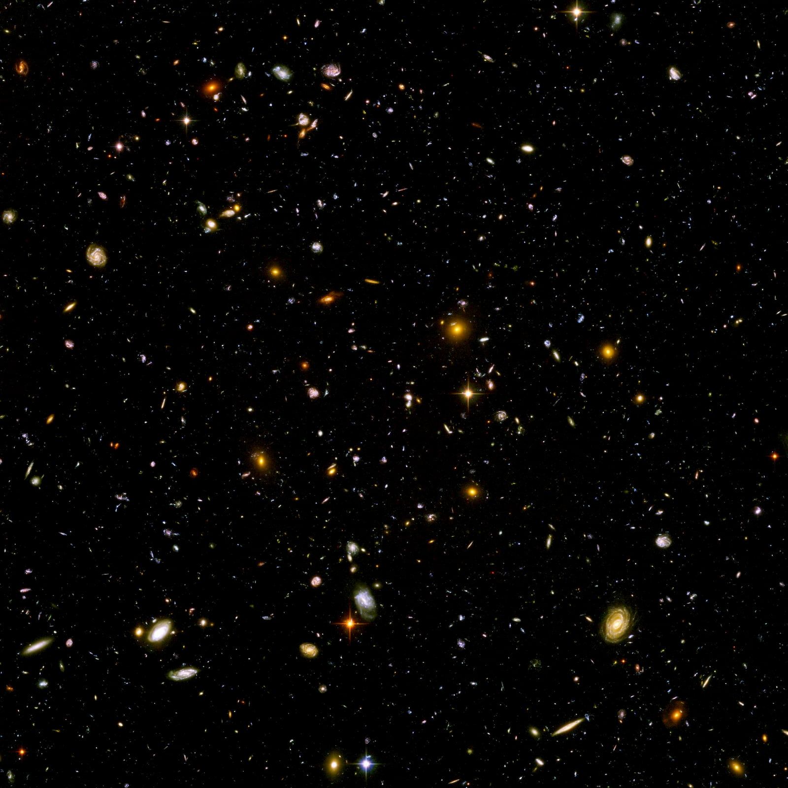 The hubble ultra deep field image showing countless galaxies in the depths of seemingly empty space.