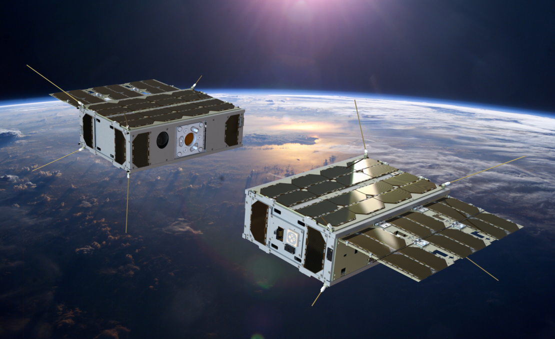 Today's Image of the Day from the European Space Agency features a pair of small nanosatellites, which perform an automated docking in orbit.