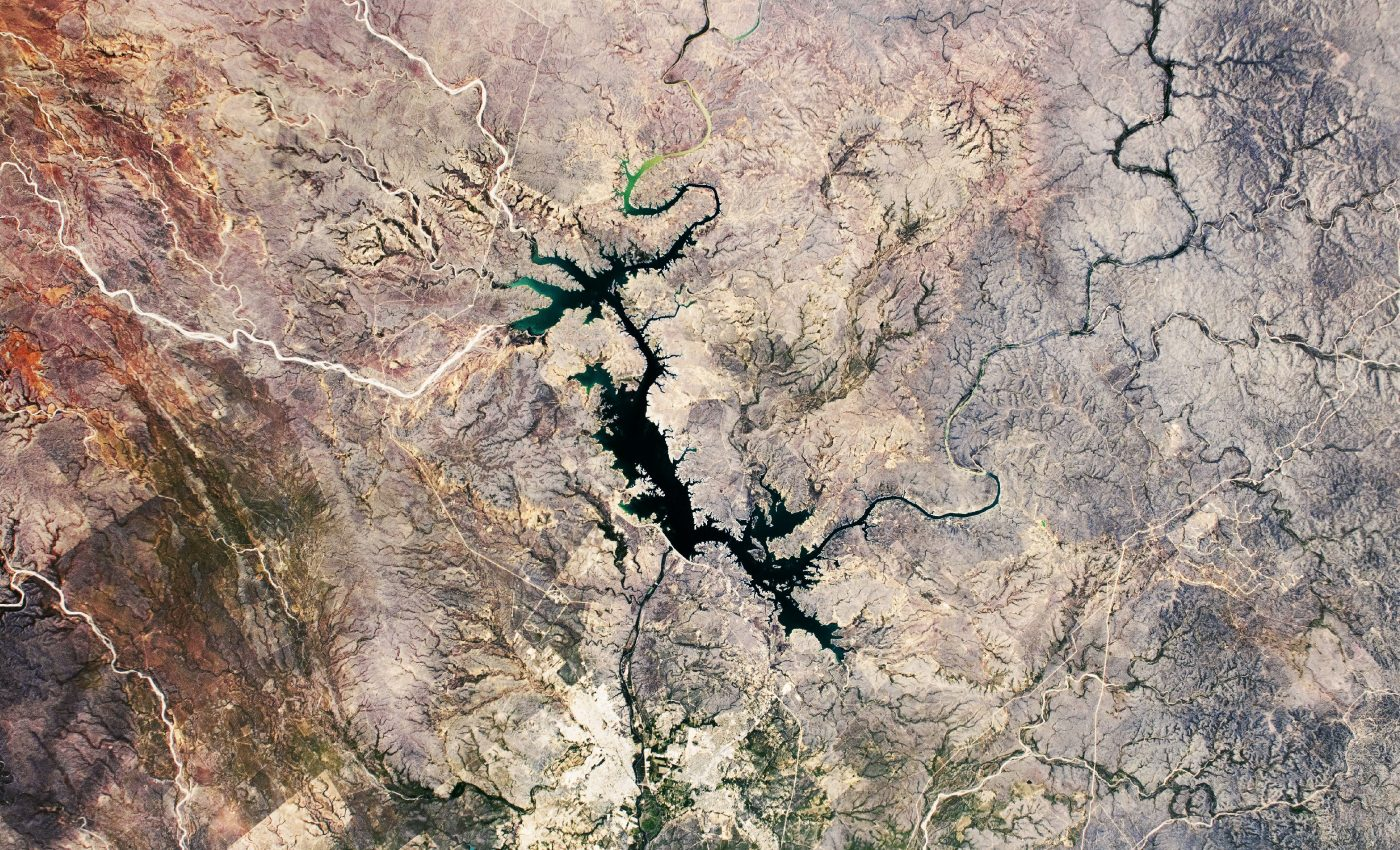 Today's Image of the Day from NASA Earth Observatory features the Amistad Reservoir, which is just west of Del Rio on the border of Mexico and Texas.