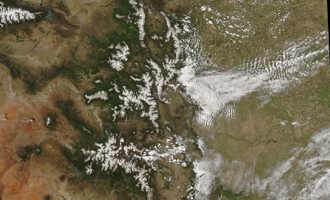 Today's Image of the Day from NASA Earth Observatory shows an unusual amount of snowpack lingering in the Rocky Mountains earlier this month.