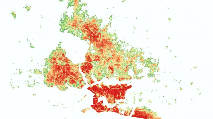 One way to help city developers proactively plan for projected population growth is to map current human settlements and show how peak populated areas will change over time.