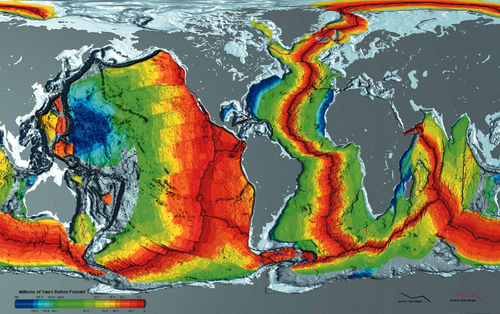 A map of the seafloor showing the age of differnt parts of the Earth's crust